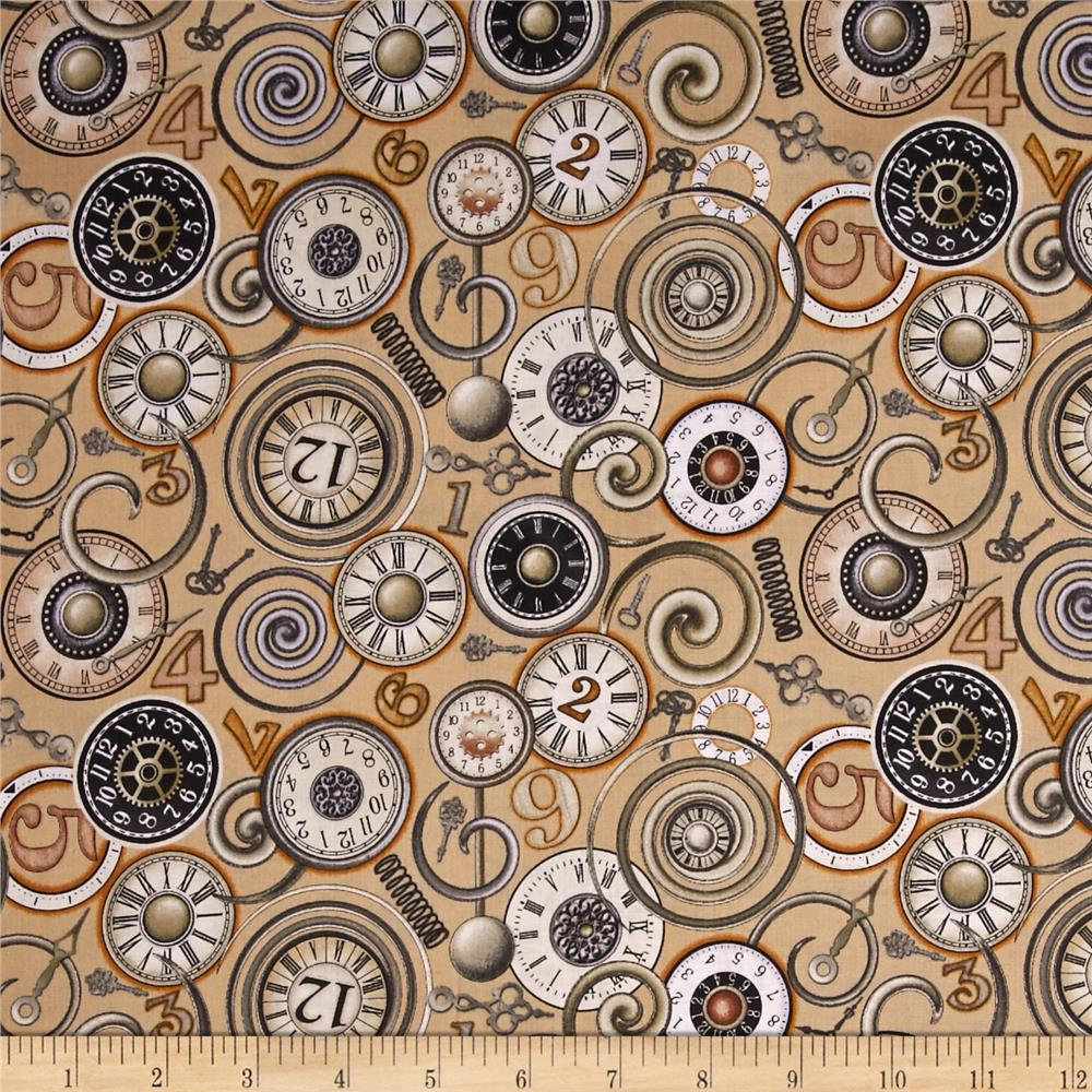 Timeless Clock Faces Cream Discount Designer Fabric