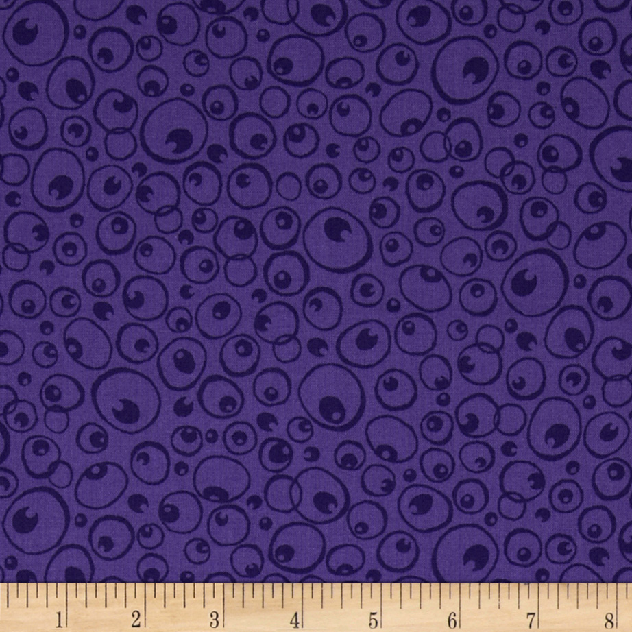 Nite Owls Owl Eyes Purple Fabric