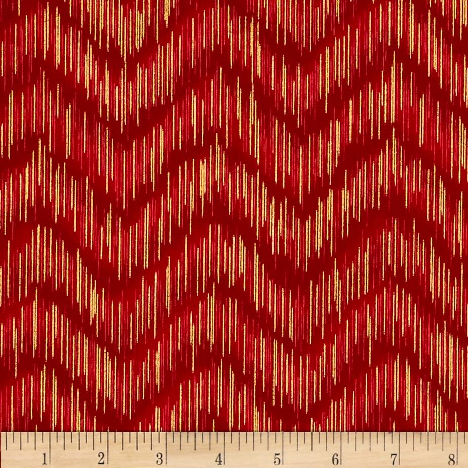 Imperial Collection Metallics Dash Chevron Crimson