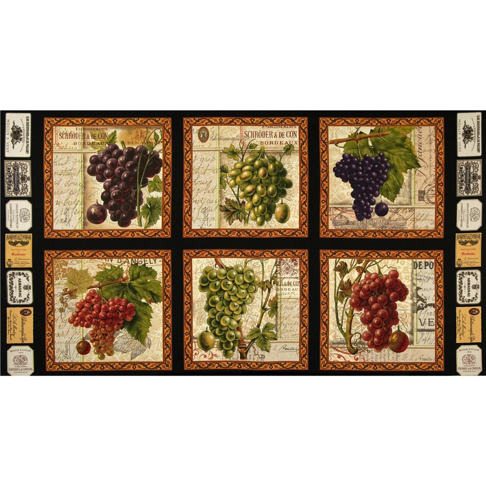 Italian Vineyard Panel Black Discount Designer Fabric