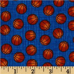 Timeless Treasures Mini Basketballs Blue Fabric