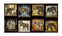 "Caravan Elephant  Patches 24"" Panel Black"