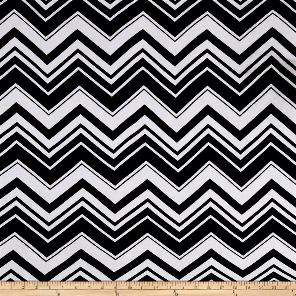 Zig Zag Jersey Knit Black White Fabric By The Yard