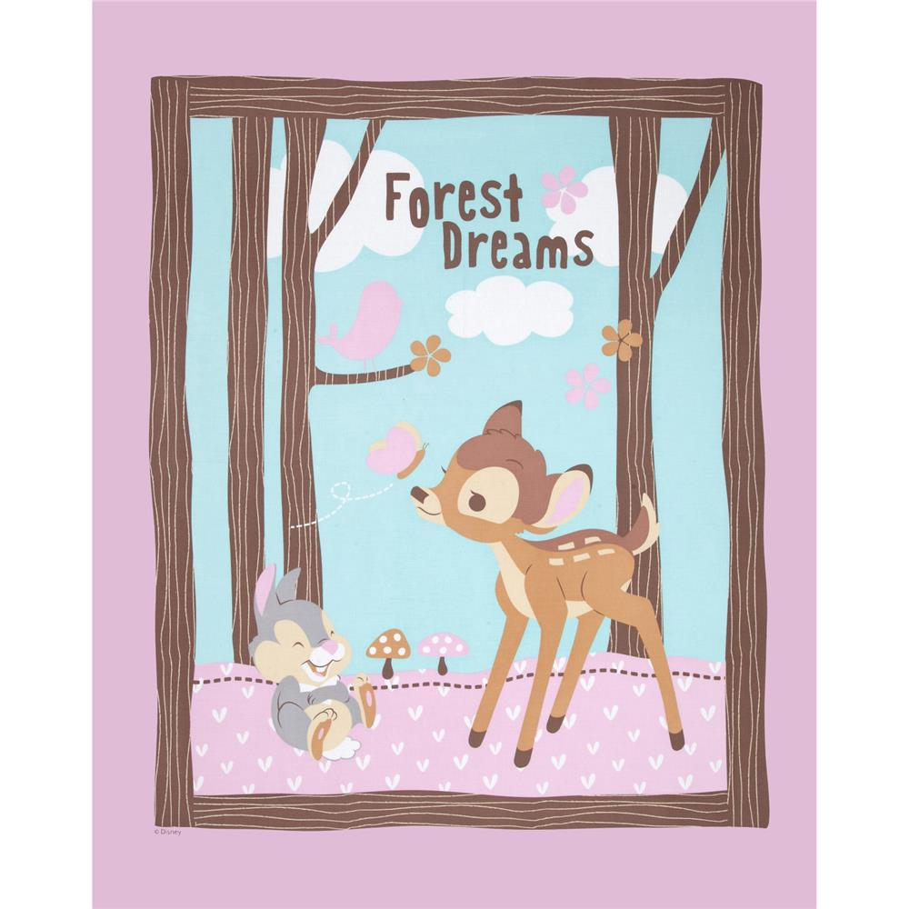 Disney Bambi Woodland Dreams 36 In. Panel Pink