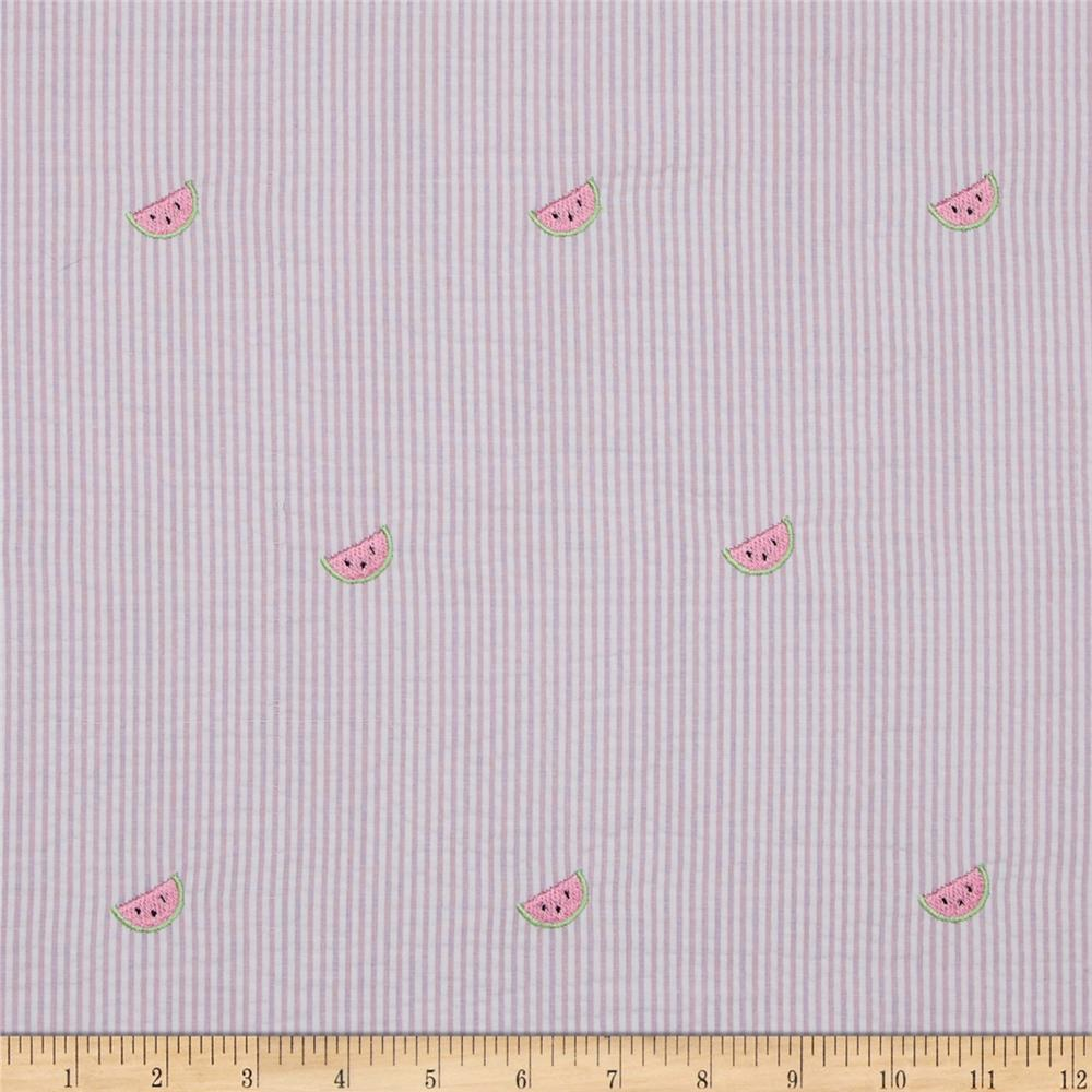 Embroidered Seersucker Watermelons Pink/White