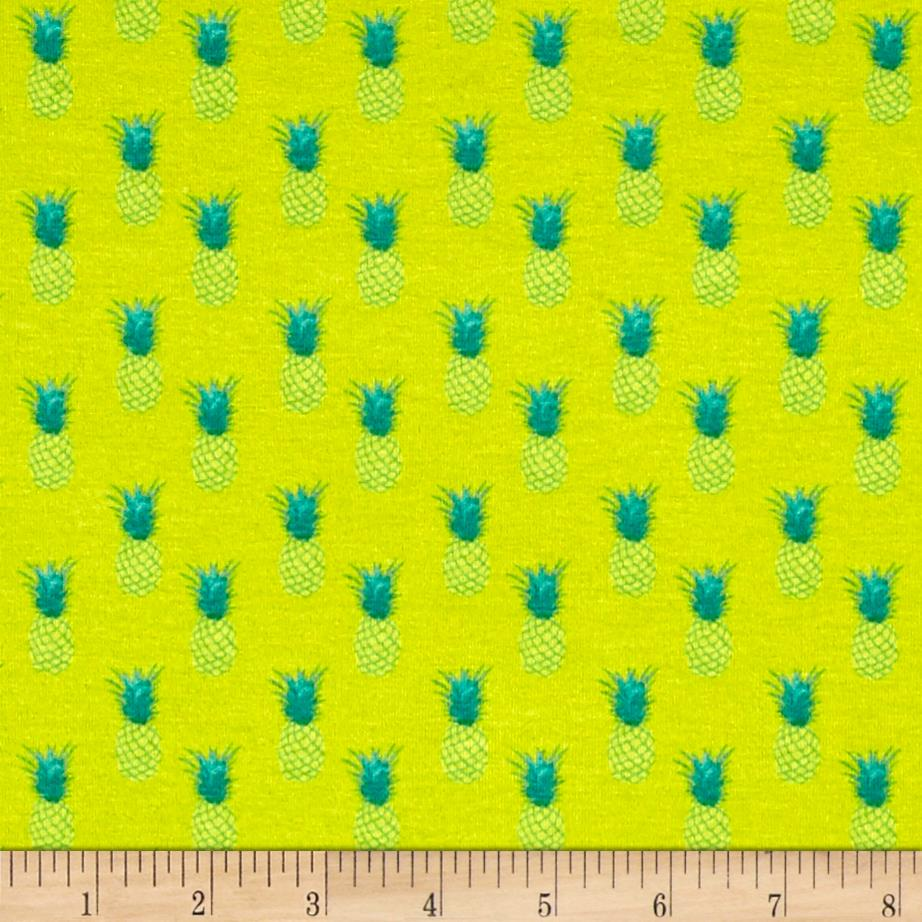 French  Designer Jersey Knit Pineapples Lime/Green Fabric