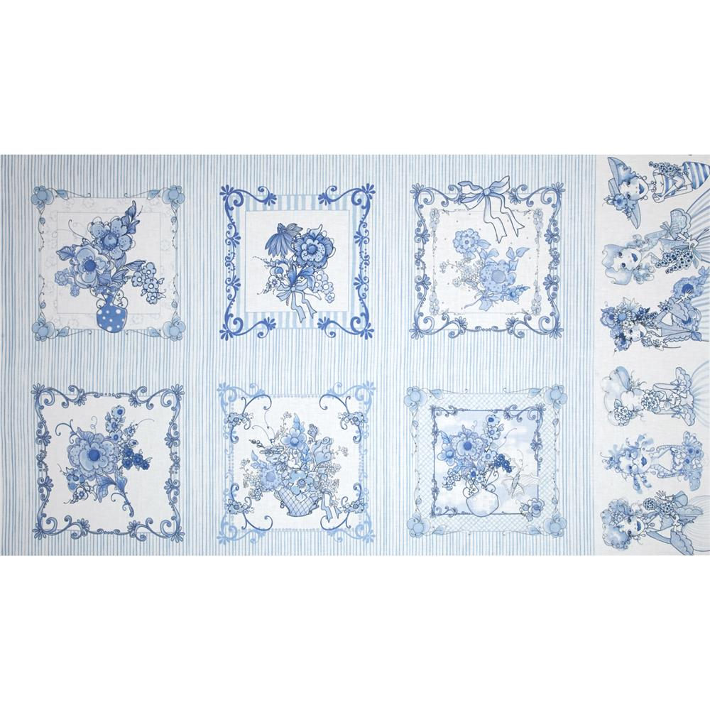 Flora Bleu Pictures Border Patches  Blue