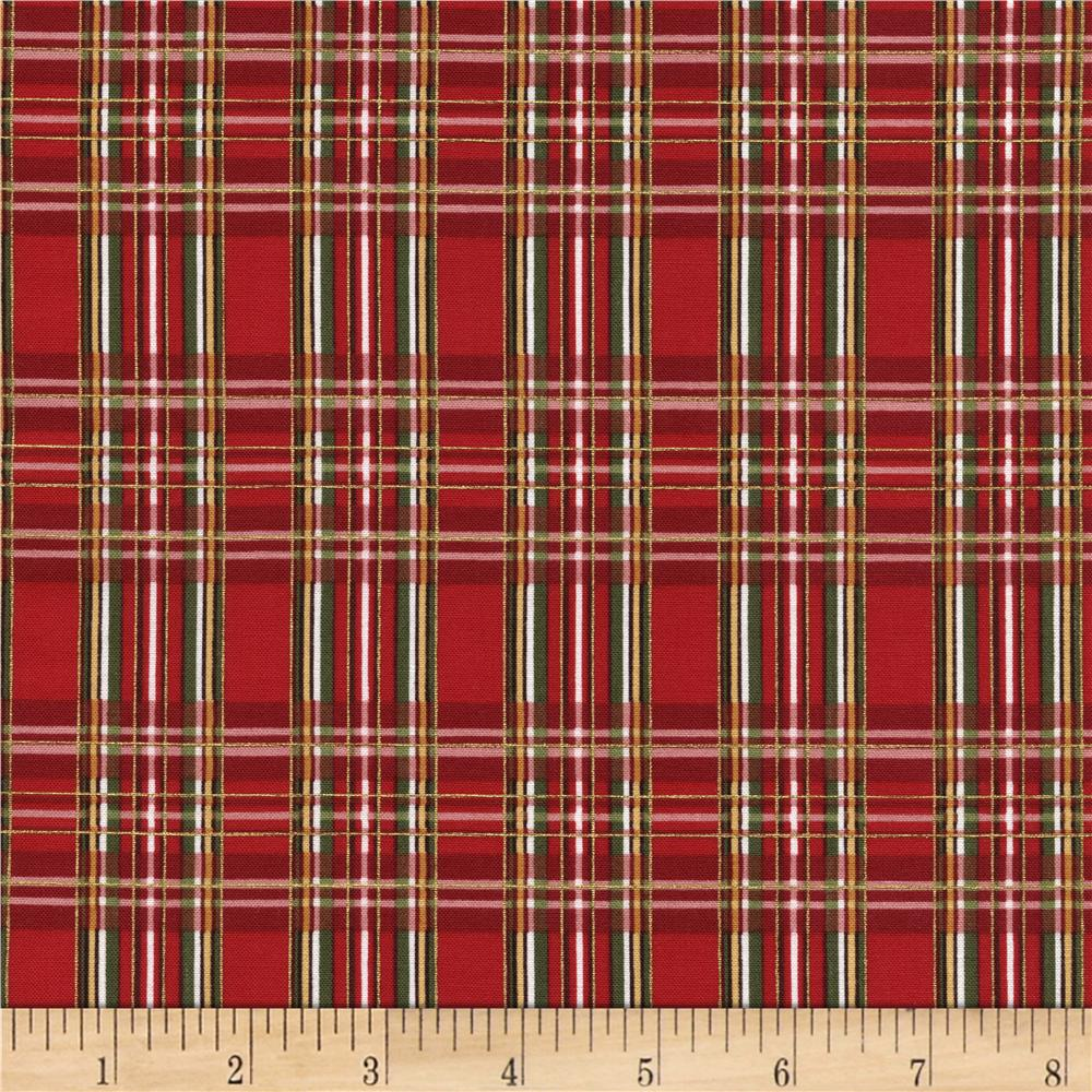 timeless treasures country christmas metallic plaid red - discount