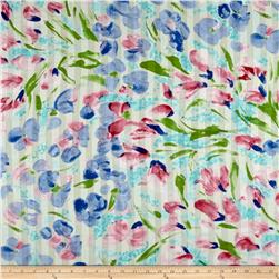 Italian Designer Cotton Batiste Ombre Satin Finish Watercolor Floral Blue/Green/Pink