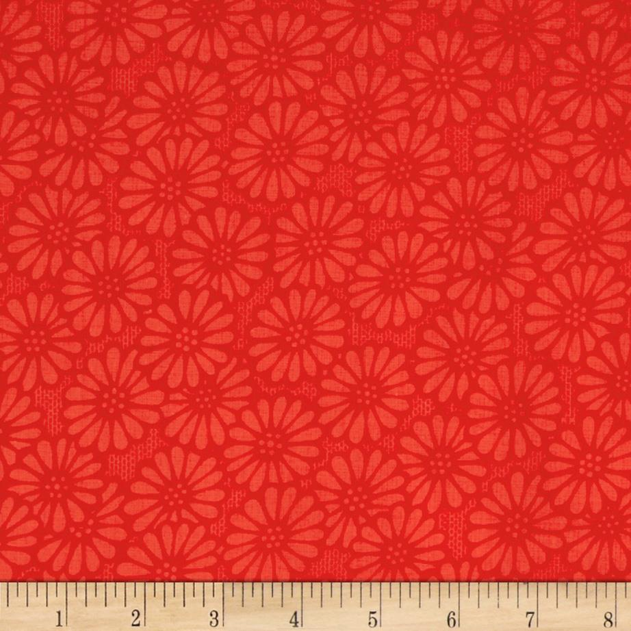 "110"" Wide Quilt Backing Daisy Red"