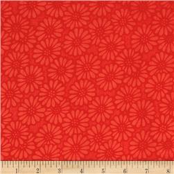 110'' Wide Quilt Backing Daisy Red
