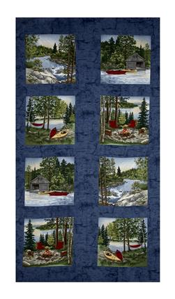 "Moda River Journey 24"" Panel Slate Blue"