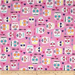 Timeless Treasures Trendy Treasures Metallic Skulls Pink Fabric