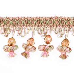 Expo 2 1/2'' Onion Tassel Bead Fringe Sage/Rose