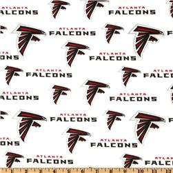 NFL Cotton Broadcloth Atlanta Falcons White Fabric
