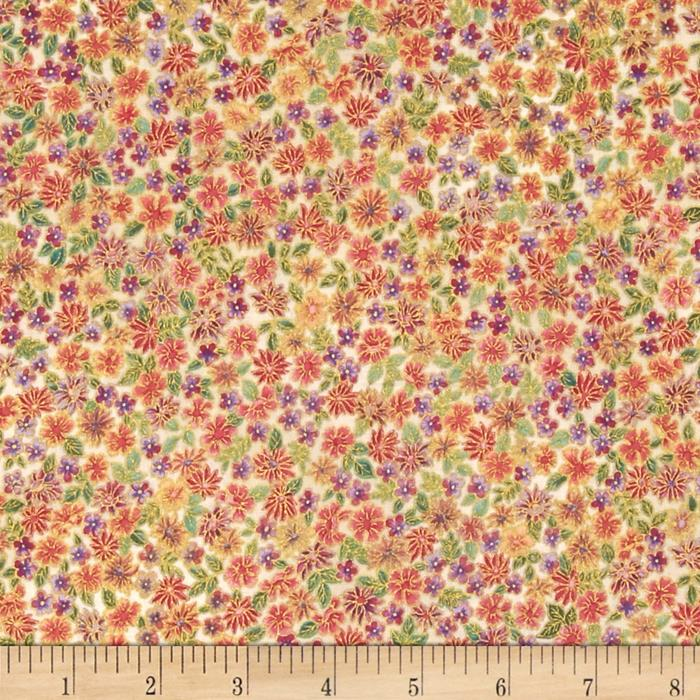 Kaufman Tuscan Wildflower Metallic Small Flower Garden