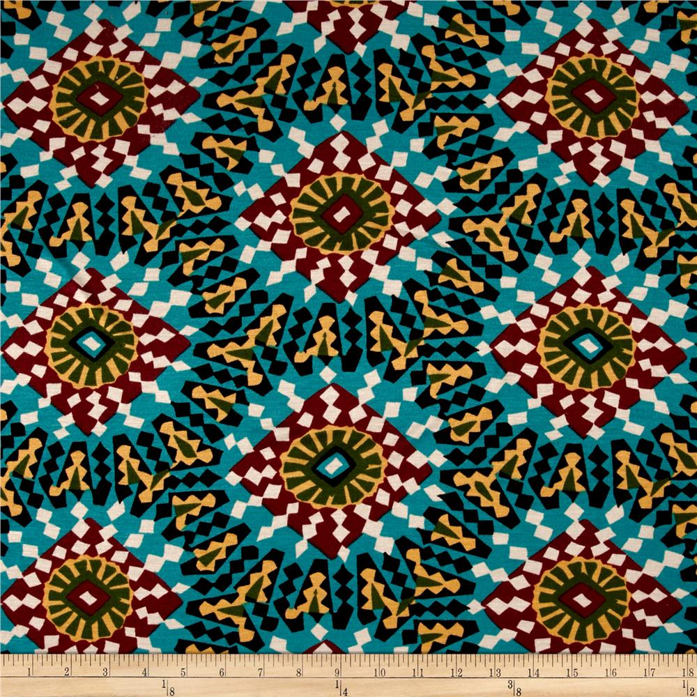 Jersey Knit Deco Mosaic Print Teal