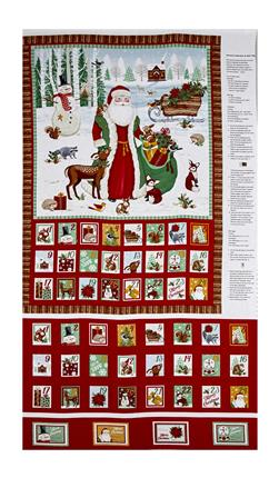"Gina Linn A Time Of Wonder 24"" Advent Calendary Panel Red."