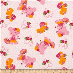 Camelot Flannel Kitties & Berries Pink