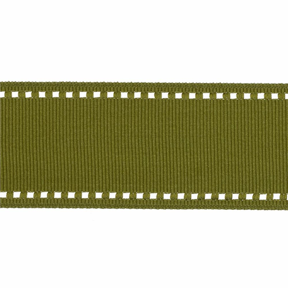 "May Arts 1 1/2"" Grosgrain Stitched Edge Ribbon Spool Olive/Ivory"
