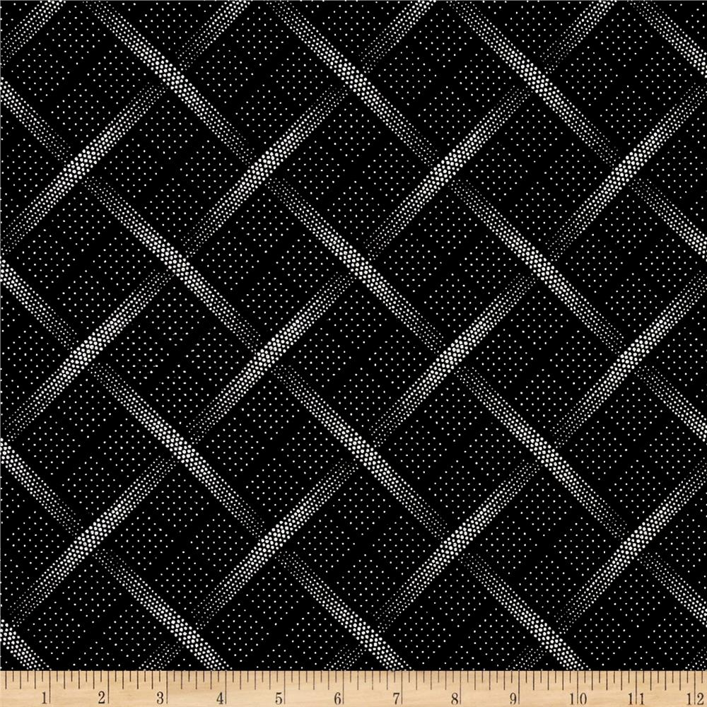 The steel collection metallic plaid black silver for Black fabric