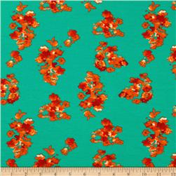 Stretch Ponte de Roma Knit Florals Green/Orange