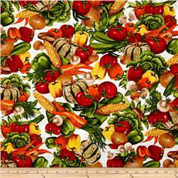 Kiss the Cook Vegetable Spring White Fabric