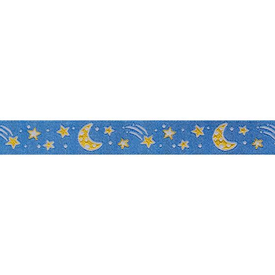 "5/8"" Ribbon Moon & Stars Light Blue Sky"