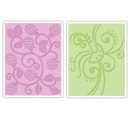 Sizzix Textured Impressions Embossing Folders 2 Pack-Fruit & Vine Set