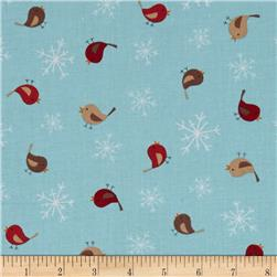 Reindeer Forest Birds & Snowflakes Blue