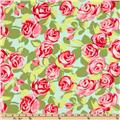 Amy Butler Love Flannel Tumble Roses Pink