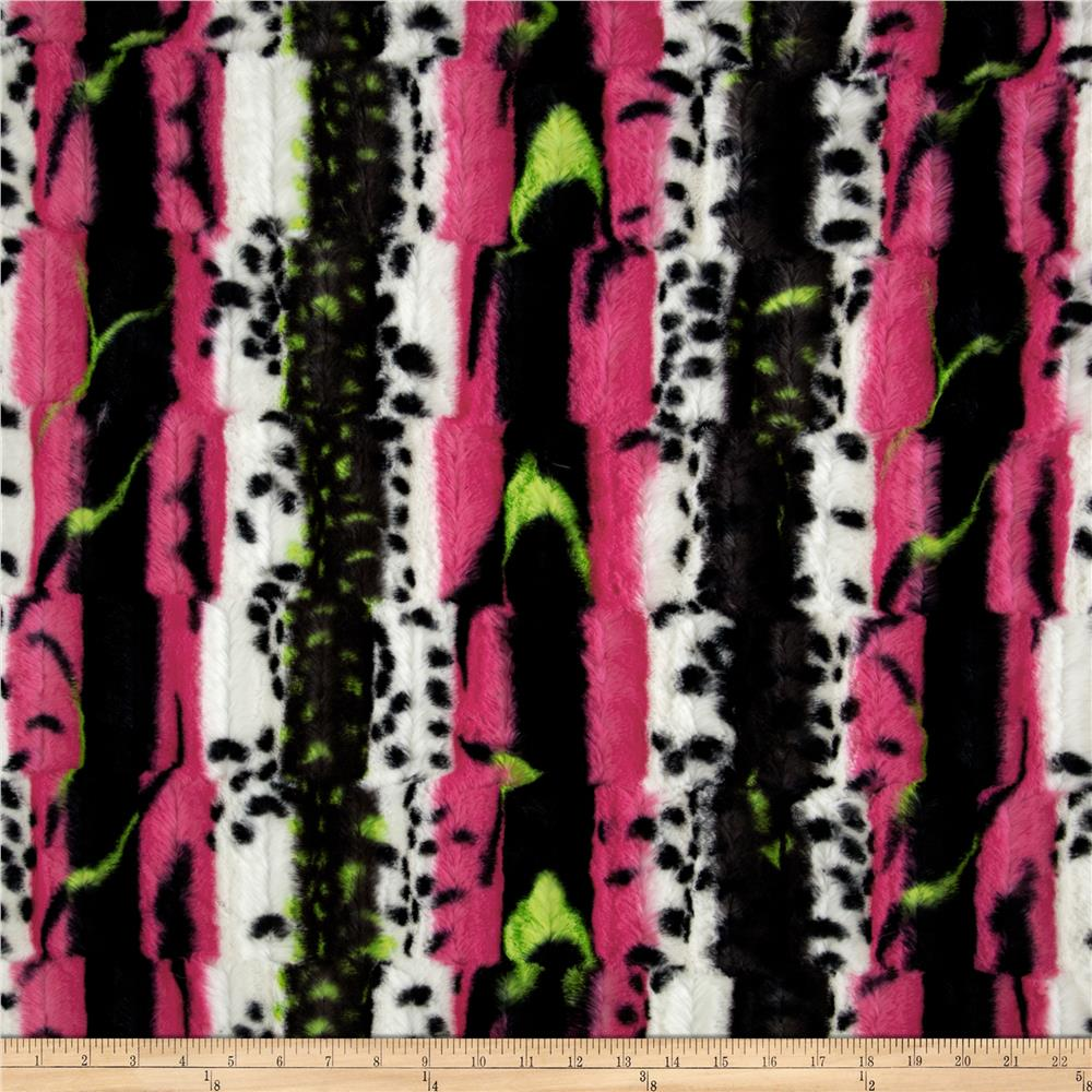 Shannon Minky Soft Cuddle Fancy Leopard Stripe Hot Pink/Lime