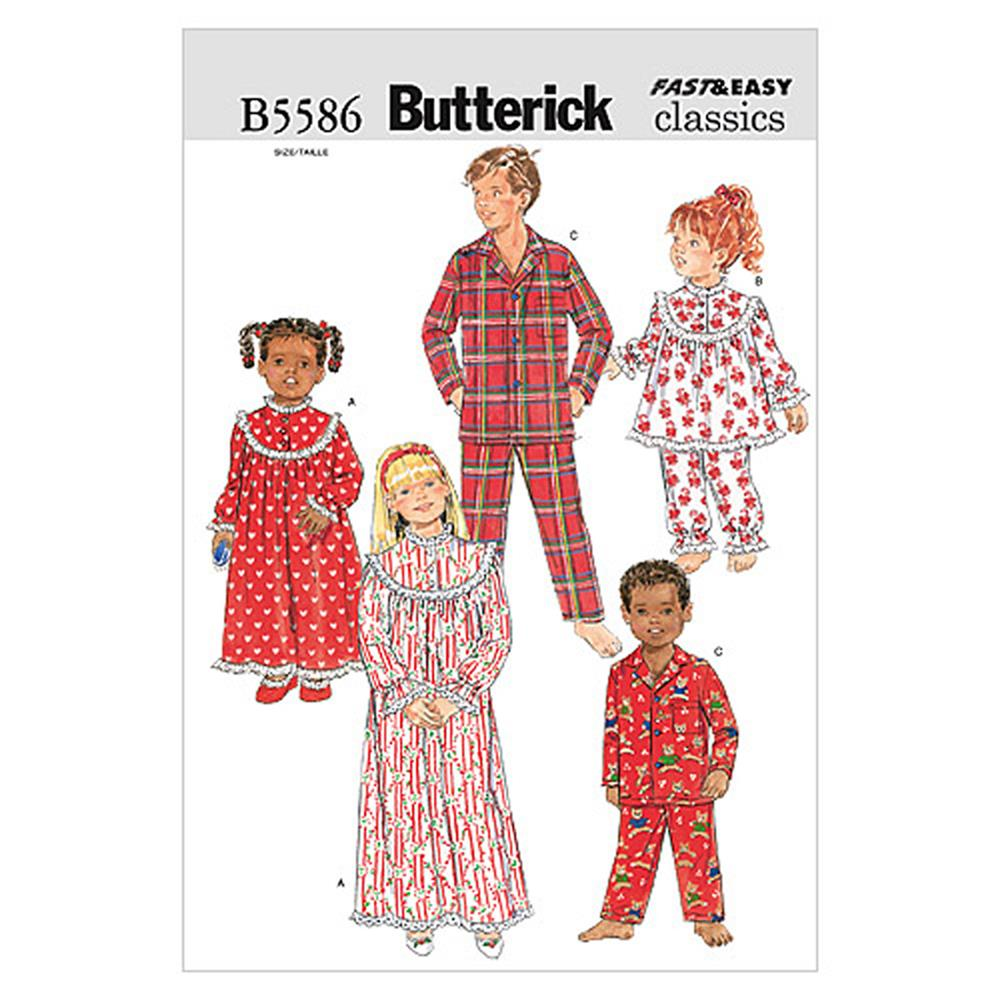 Butterick Children'/Girls'/Boys' Nightgown, Top and Pants Pattern B5586 Size 020