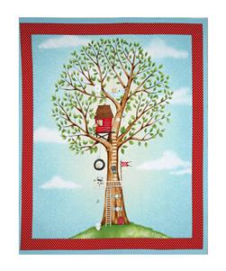 "Hangin' Out One Animal Animal In Tree 35"" Panel Medium Turquoise"