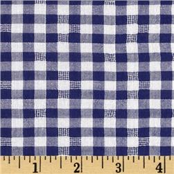 Cotton Plaid Voile Yarn Dyed Royal/White