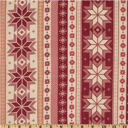Nordica Flannel Snowflake Stripes Antique