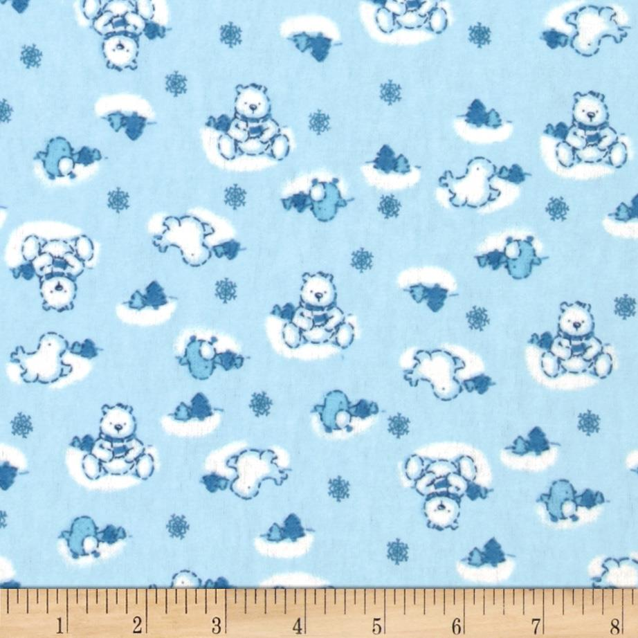 Camelot Flannel Winter Teddy Bears Blue