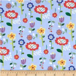 Mother Goose Tales Funky Flowers Blue Fabric