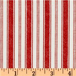 Michael Miller Indigo Red Rail Stripe Red