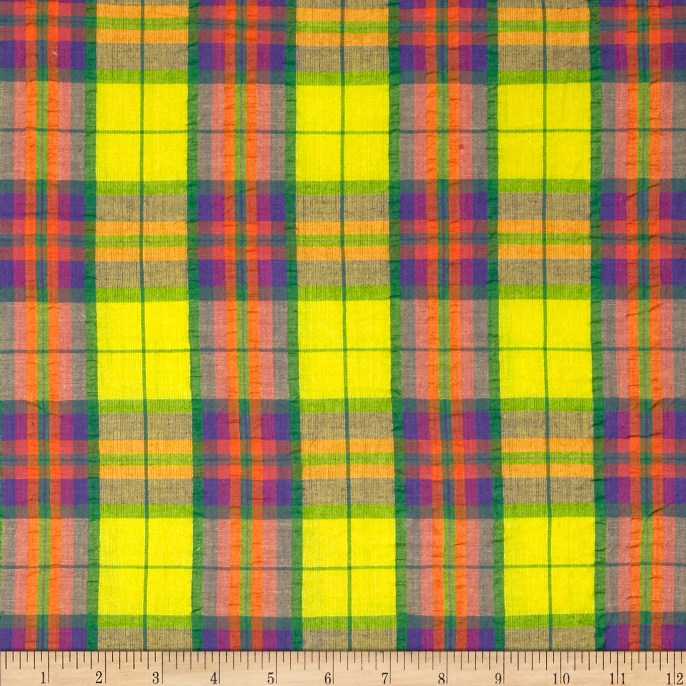 Yarn Dyed Seersucker Plaid Yellow/Multi Fabric