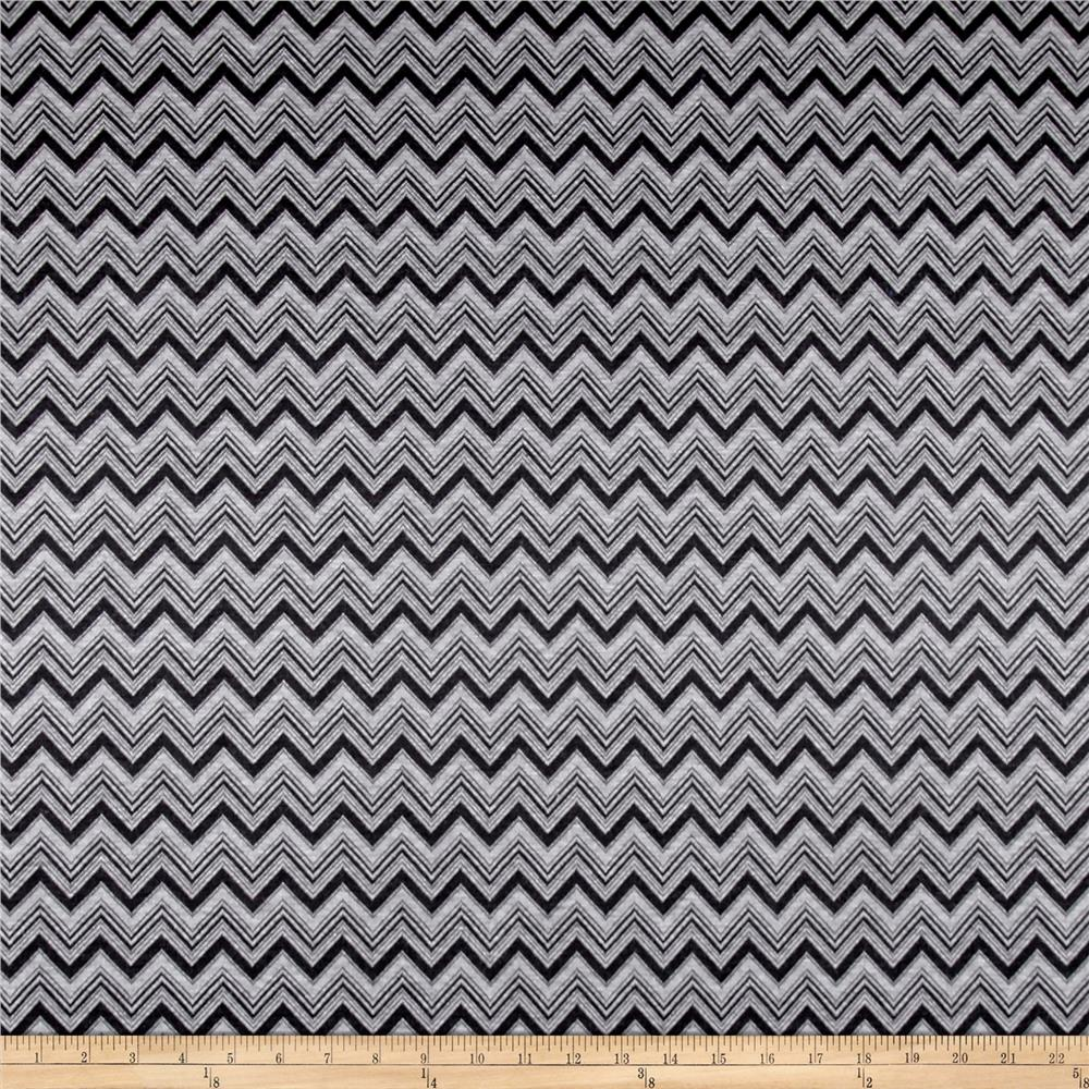 Rayon Jacquard Double Knit Chevron Black/Grey Fabric