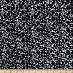 Pearle Silver Opalescent Scroll Black Fabric