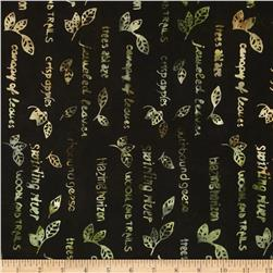 Moda Pine Island Batiks Fall Script Steel Brown