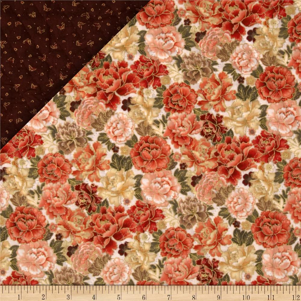 Imperial Garden Double Sided Quilted Butterfly Floral Cream/Red