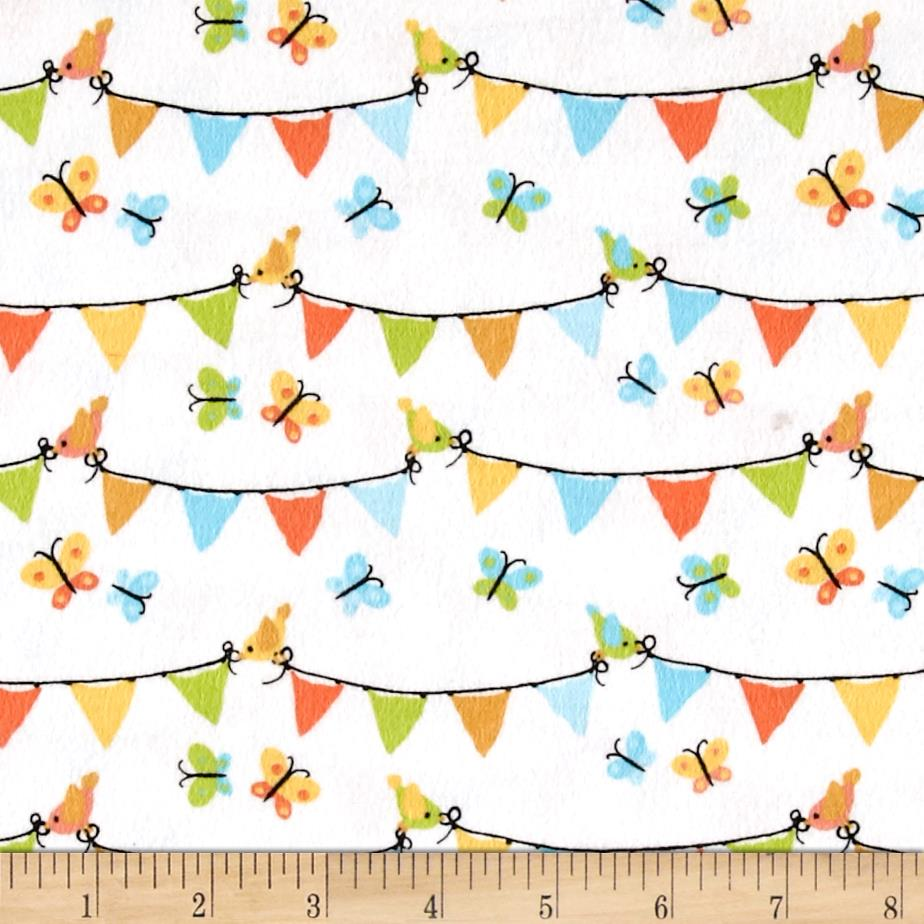 Michael Miller Nature Babies Flannel Pennant Panel Aqua