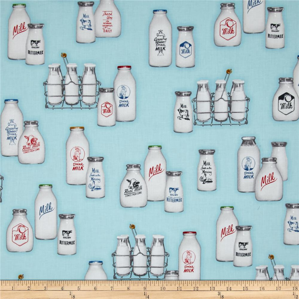 Kaufman Down on the Farm Milk Bottles Aqua