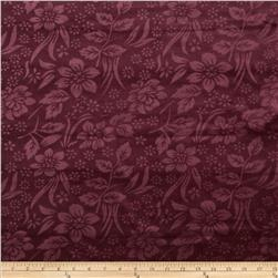 Cotton Poly Terry Velour Knit Embossed Leaves Burgundy