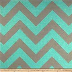 RCA Chevron Sheers Grey/Aqua Fabric
