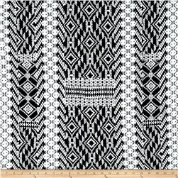 Jersey Knit Abstract Aztec Black White