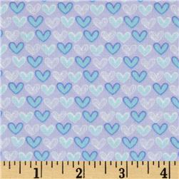 Welcome Baby Flannel Mini Hearts Purple